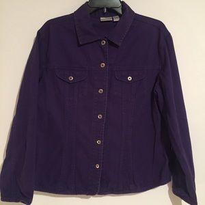 Chico's Purple Denim Jean Blazer Jacket Coat